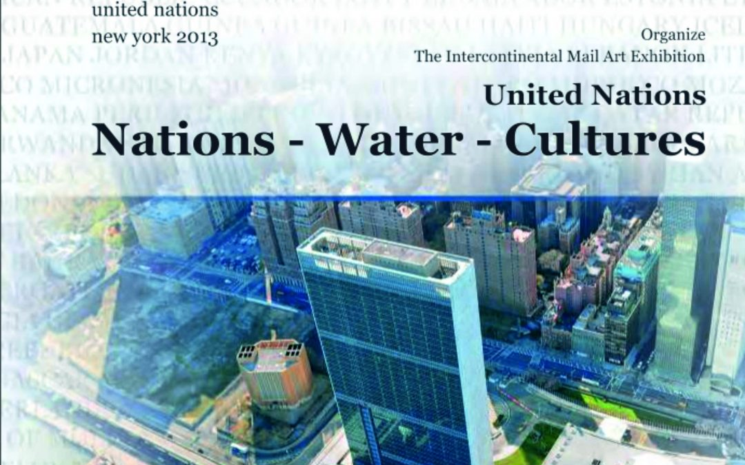 "BIRUTĖ NOMEDA STANKŪNIENĖ WITH HER PAINTING ""BE WARE OF ARTIST"" PARTICIPATED IN INTERNATIONAL EXHIBITION ""UNITED NATIONS: NATIONS – WATER – CULTURES"" AT THE UNITED NATIONS HEADQUARTERS IN NYC"