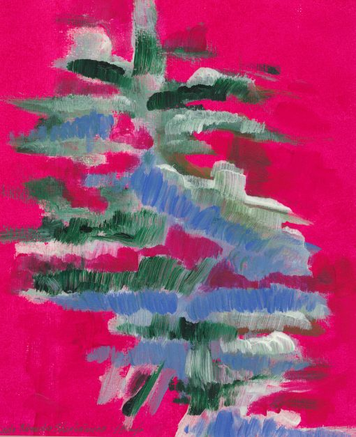 PINK CHRISTMAS 2, 27X27CM, without frame, with pasport, acrylic, paper, sold