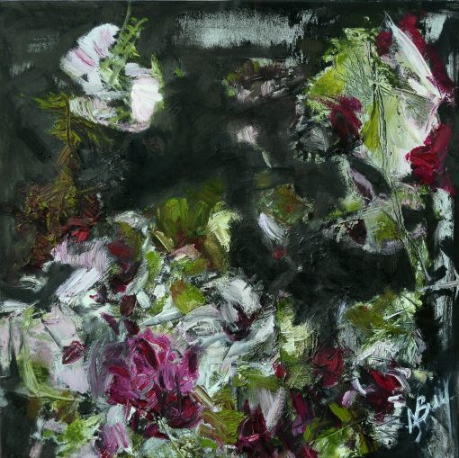 PINK FLOWERS, WARM SUMMER, BUT THAT'S ALREADY A VERY SAD, oil, canvas 70x70 cm, 2015; 450 EUR