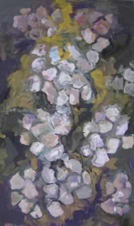 WHITE FLOWERS, tempera, paper, 42x48cm, 2005, sold