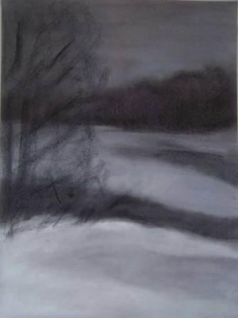 WINTER NIGHT, pastel, paper, 42x258, 2008, 700 Lt: 202 EUR