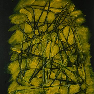 YELLOW-BLACK COMPOSITION, Acrylic, Paper, 31x42 cm, 2015 m.; 75 EUR