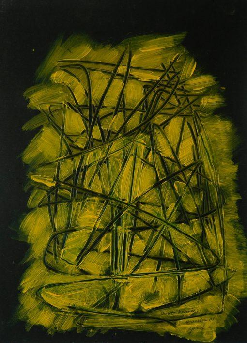 YELLOW-BLACK COMPOSITION, Acrylic, Paper, 31x42 cm, 2015 m.; 75 EUR