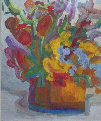 YELLOW VASE WITH FLOWERS, paper, tempera, 42x58cm, 2005, not for sale
