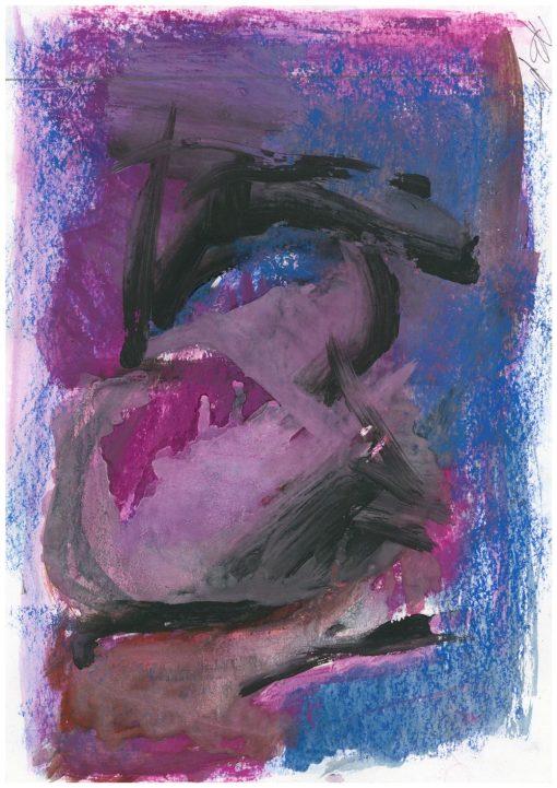 Blue Black composition  acrylic, pastel paper, 21x29 cm, 2013