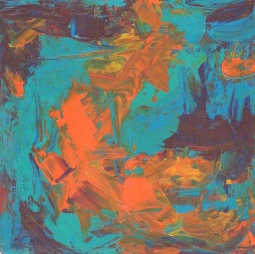 Orange and Greenish Bue composition 35x35x0,4cm, 2013