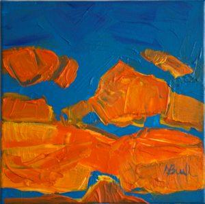 WHEN SUN WINS THE SKY, acrylic, canvas, 20x20cm 2013