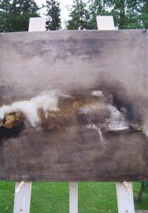 TOUCHING THE BLACK – oil, canvas, 70X70X2cm, 2017